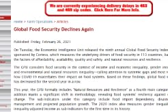CCR Global Food Security Declines Again