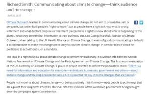 CCR Richard Smith: Communicating about climate change—think audience and messenger