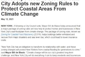 CCR Recovery For All of Us: New York City Adopts new Zoning Rules to Protect Coastal Areas From Climate Change