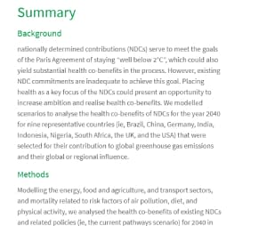 The public health implications of the Paris Agreement: a modelling study