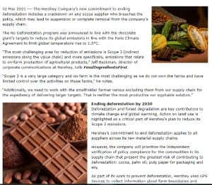 CCR Hershey's deforestation policy cracks down on cocoa suppliers while honing in on chocolate's carbon emissions