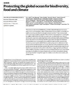 Protecting the global ocean for biodiversity, food and climate